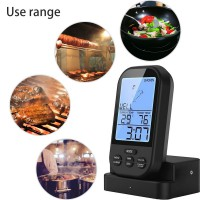 Wireless BBQ Thermometer Meat Thermometer Ninonly Digital Instant Read Thermometer Remote Display Oven Thermometer with Waterproof Probe for Kitchen Cooking Poultry Smoker Grill Foldable black